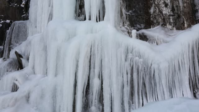 icicles on a frozen waterfall in kirkstone quarry, lake district, uk. - icefall stock videos and b-roll footage
