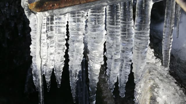 icicles on a stream in the lake district, uk - icicle stock videos and b-roll footage