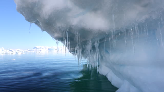 icicles on iceberg in antarctica, wide shot - icicle stock videos and b-roll footage