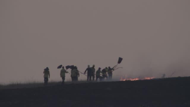 icmbio team works to put out cerrado wildfires. - släcka bildbanksvideor och videomaterial från bakom kulisserna