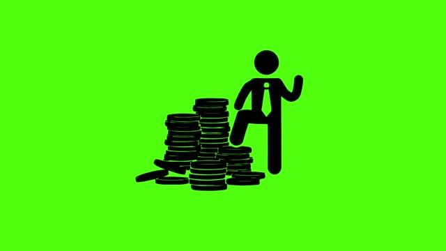 icon-geschäftsmann ist milliardär auf grün-leinwand-hintergrund - dollarsymbol stock-videos und b-roll-filmmaterial