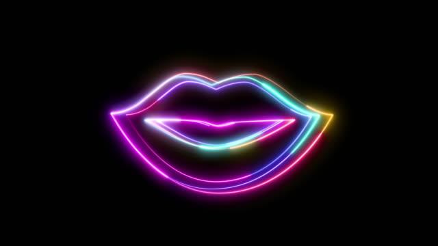 ネオンスタイルで作られた女性の唇の形のアイコン。 - 人間の唇点の映像素材/bロール
