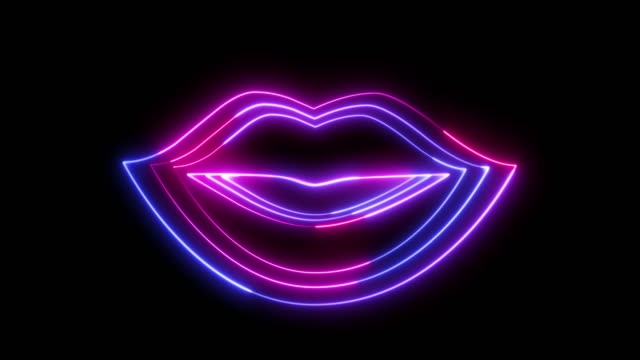 icon in the form of female lips made in neon style. - lips stock videos & royalty-free footage