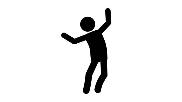 icon man brag figur animation. charakter 2d cartoon animationen. piktogramm menschen einzigartige silhouette vektor-symbol-set. animierte stickman posen auf transparentem hintergrund. verschieben der aktivitätsvariation - auf und ab springen stock-videos und b-roll-filmmaterial