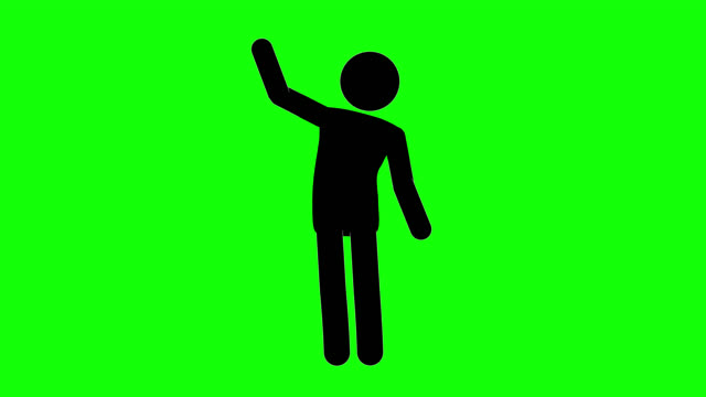 icon man bye figure animation. character 2d cartoon animations. pictogram people unique silhouette vector icon set. animated stickman poses on transparent background. moving activity variation - waving gesture stock videos & royalty-free footage