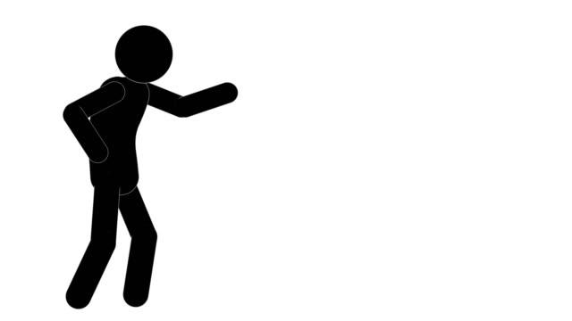 vidéos et rushes de animation de colère de figure d'homme d'icône. personnage 2d animations de dessins animés. pictogram people unique silhouette vector icon set. poses animées sur fond transparent. variation de l'activité mobile - collant description physique