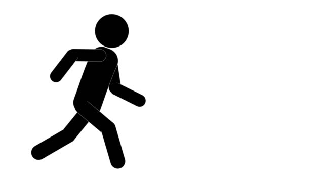 icon man figure run and stop animation. character 2d cartoon animations. pictogram people unique silhouette vector icon set. animated poses on transparent background. moving activity variation - variation icon stock videos & royalty-free footage