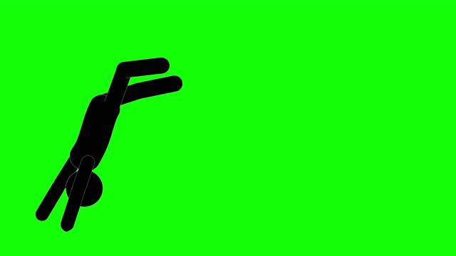 vídeos y material grabado en eventos de stock de figura de icon man running y rolling animation. animaciones de dibujos animados de personajes 2d. pictogram personas único silueta vector icono set. poses animadas en fondo transparente. variación de la actividad móvil - saltar actividad física