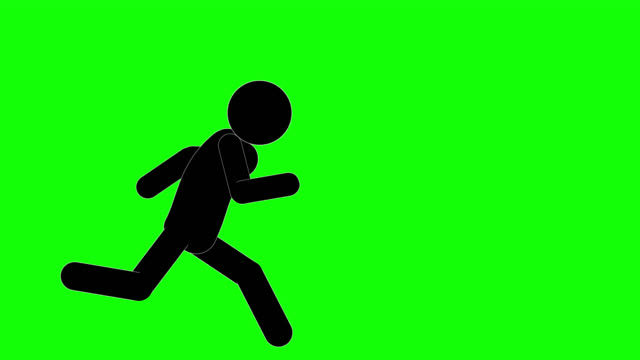 icon man figure running and stopping animation. character 2d cartoon animations. pictogram people unique silhouette vector icon set. animated poses on transparent background. moving activity variation - runaway stock videos & royalty-free footage