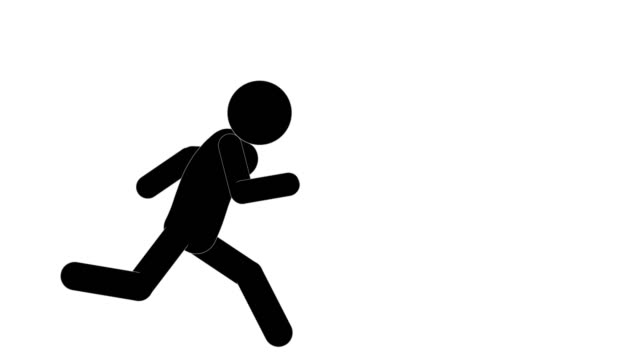 icon man figure running and stopping animation. character 2d cartoon animations. pictogram people unique silhouette vector icon set. animated poses on transparent background. moving activity variation - variation icon stock videos & royalty-free footage