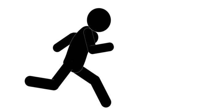 icon man figure running loop animation. character 2d cartoon animations. pictogram people unique silhouette vector icon set. animated poses on transparent background. moving activity variation - sticky stock videos & royalty-free footage