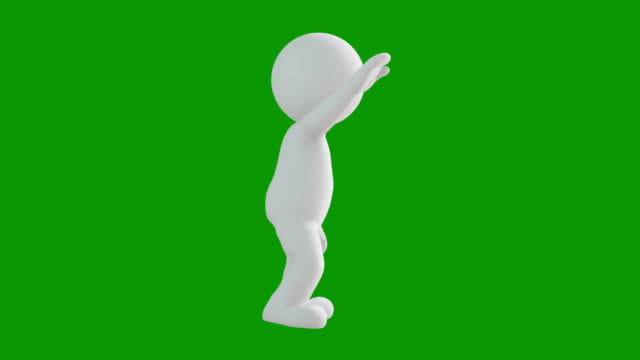 3d icon man figure say hello animation. character animations. pictogram people unique silhouette vector icon set. animated poses on chroma key background. moving activity variation. - waving icon stock videos & royalty-free footage