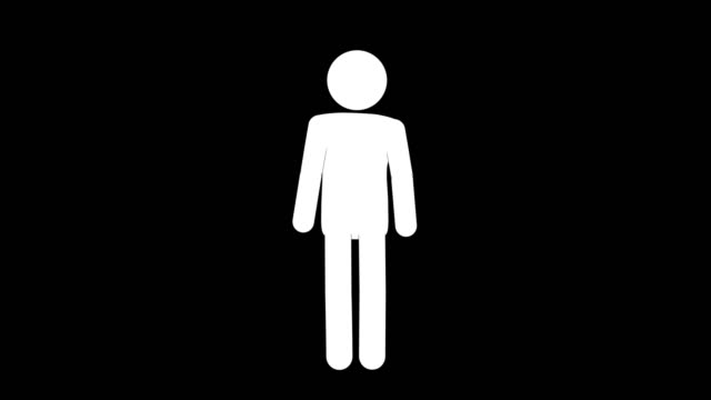 vídeos de stock e filmes b-roll de icon man figure standing up animation of front view. character 2d cartoon animations. pictogram people unique silhouette vector icon set. animated poses on transparent background. moving activity variation - esperar