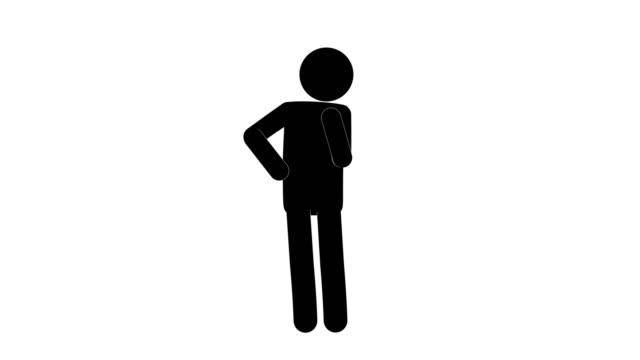 フロントビューのアイコンマンフィギュア思考アニメーション。キャラクター2d漫画アニメーション。ピクトグラムピープルユニークなシルエットベクトルアイコンセット。透明な背景にア� - 瞑想する点の映像素材/bロール