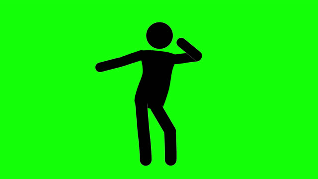 icon man go go dancing loop figure animation. character 2d cartoon animations. pictogram people unique silhouette vector icon set. animated stickman poses on transparent background. moving activity variation - alpha channel stock videos & royalty-free footage