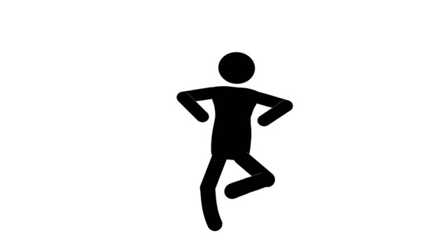 icon man jumping figure animation. character 2d cartoon animations. pictogram people unique silhouette vector icon set. animated stickman poses on transparent background. moving activity variation - variation icon stock videos & royalty-free footage