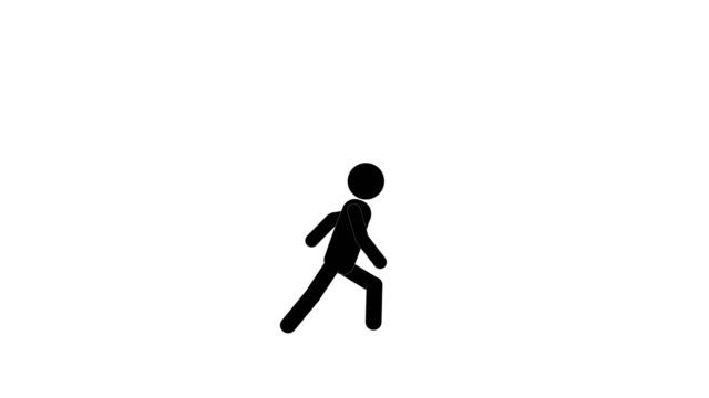icon man run and stop animation. character 2d figure cartoon animations. pictogram people unique silhouette vector icon set. animated poses on transparent background. moving activity variation - figurine stock videos & royalty-free footage