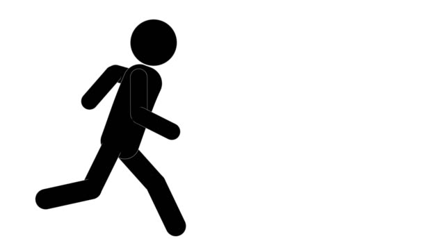 icon man running and stop for yelling animation. character 2d figure cartoon animations. pictogram people unique silhouette vector icon set. animated poses on transparent background. moving activity variation - variation icon stock videos & royalty-free footage