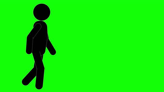 vidéos et rushes de animation de marche d'homme d'icône. personnage 2d figure cartoon animations. pictogram people unique silhouette vector icon set. poses animées sur fond transparent. variation de l'activité mobile - symbole