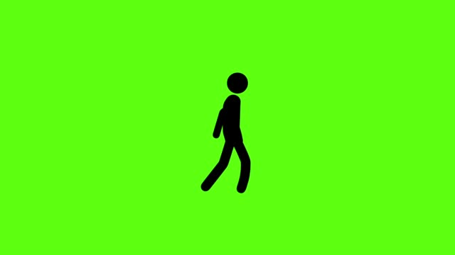 icon man with walking on green screen background - racewalking stock videos and b-roll footage