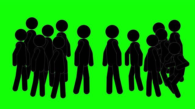 vídeos de stock, filmes e b-roll de figuras ícone saem da animação. personagens 2d cartoon animations. pictogram people unique silhouette vector icon set. poses animadas em fundo transparente. variação de atividade em movimento - símbolo