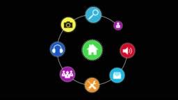 Icon set menu circle rotation 2D motion graphic technology, loop up