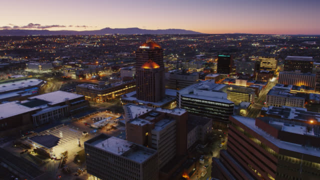 iconic albuquerque plaza and hyatt at sunrise - drone shot - albuquerque new mexico stock videos & royalty-free footage
