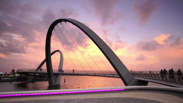 iconic elizabeth quay bridge at sunset in perth - footbridge stock videos & royalty-free footage