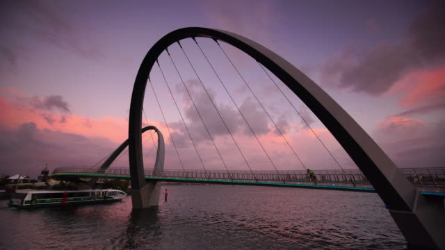 iconic elizabeth quay bridge at sunset in perth - downtown stock videos & royalty-free footage
