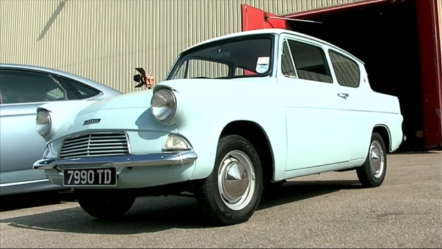 iconic film cars displayed at elstree studios; england: hertfordshire: borehamwood: elstree studios: ext various shots of cars featured in feature... - doctor who stock videos & royalty-free footage
