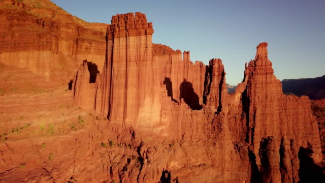 Iconic Fisher Towers Sandstone Red Rock Formation Near Moab Utah