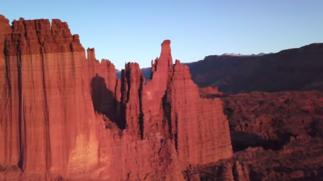 iconic fisher towers sandstone red rock formation near moab utah - mesa stock videos and b-roll footage