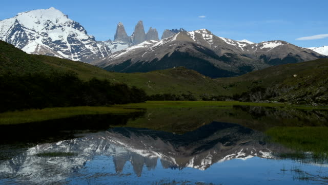 iconic torres of torres del paine - patagonia chile stock videos and b-roll footage