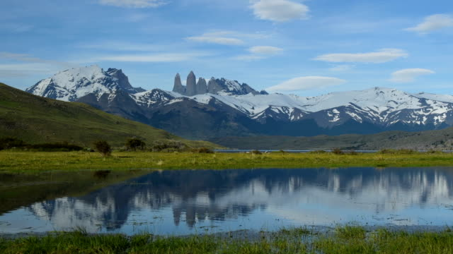 iconic torres of torres del paine - azul stock videos & royalty-free footage