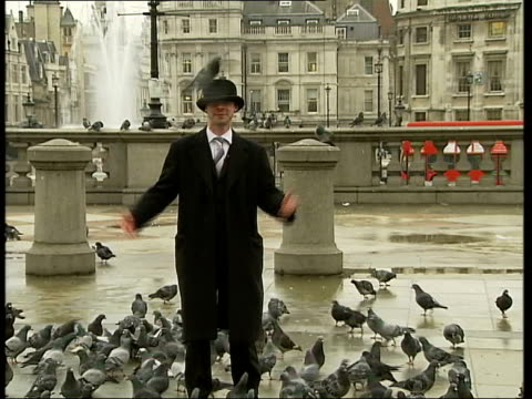 icons of england government survey launched; trafalgar square: ext vox pops with tourists and locals about london icons pigeons atop bowler hat pull... - hat stock videos & royalty-free footage