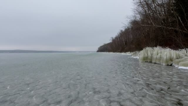 icy lakeshore - lakeshore stock videos & royalty-free footage