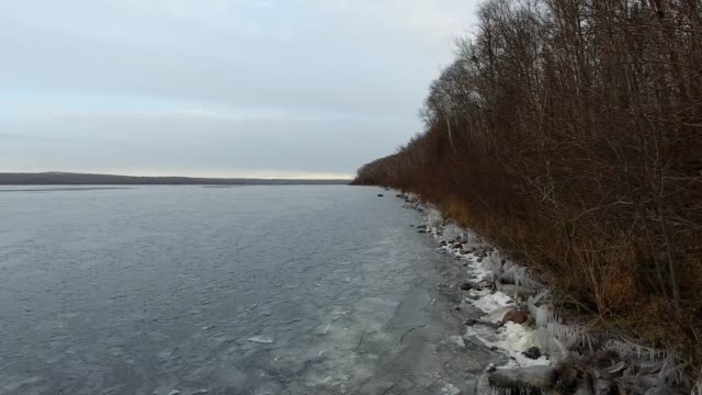 Icy shoreline in the fall