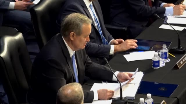 idaho senator mike crapo reads from a prepared statement at a meeting of the senate judiciary committee prior to a vote on sending the nomination of... - senate judiciary committee stock videos & royalty-free footage