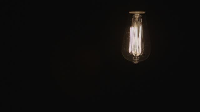 Idea Concept Vintage light bulb turns on turn off Right