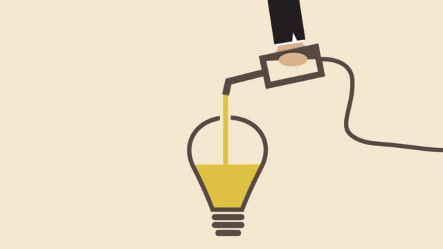idea light bulb is filling up by hand nozzle (business concept cartoon) - fuel pump stock videos & royalty-free footage