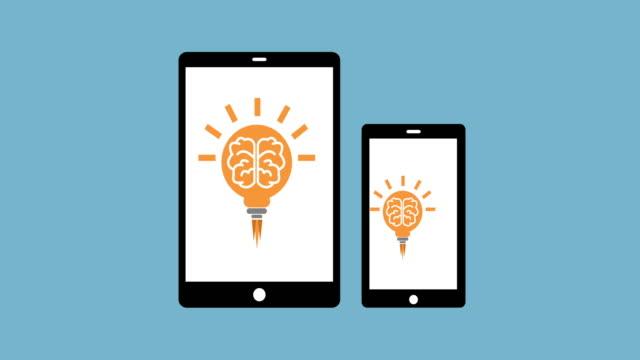 Idea. Light bulb sketch with concept of idea. Tablet phone.