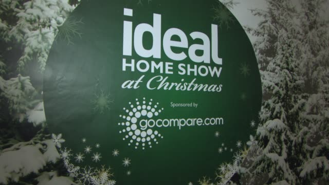 ideal home show at christmas at earls court on november 23, 2014 in london, england. - earls court stock videos & royalty-free footage