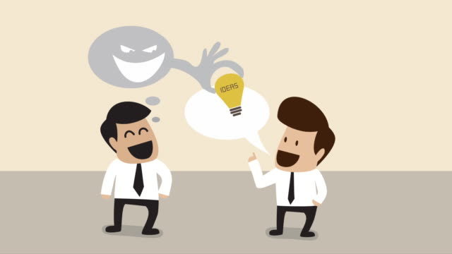 ideas are stolen form two businessman talking with idea (business concept cartoon) - intellectual property stock videos & royalty-free footage