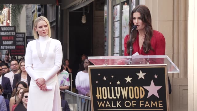 idina menzel at kristen bell & idina menzel honored with special double star ceremony on the hollywood walk of fame on november 19, 2019 in... - walk of fame stock videos & royalty-free footage