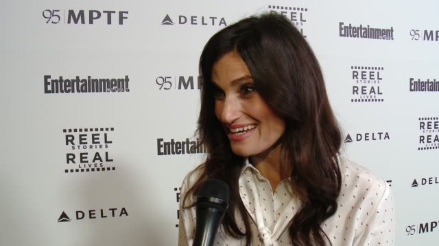 interview idina menzel on the event at 5th annual reel stories real lives benefiting the motion picture television fund in los angeles ca - motion picture & television fund stock videos & royalty-free footage