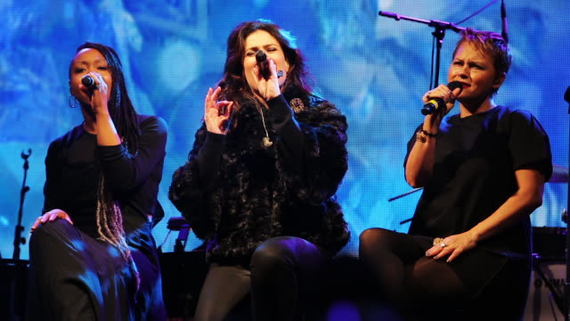 Idina Menzel sings 'Let It Go' from Disney's Frozen at the Bloombingdale's Holiday Window Unveiling an annual free concert