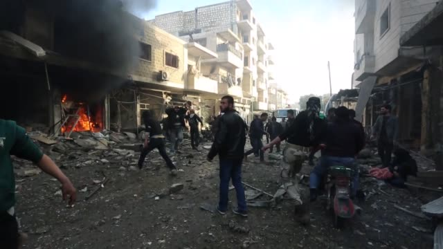 Idlib and Aleppo stronghold of Syrian opposition attacked by aerial and land attack of regime forces on December 042016 68 people are died and 78...