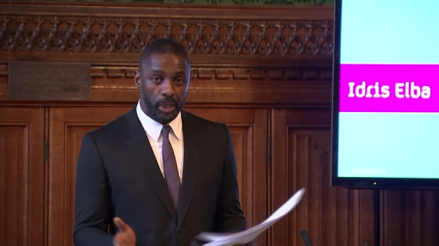 Idris Elba speech Elba speech SOT on competition in media market diversity at start of creative process transparency risk taking / used to fit tyres...