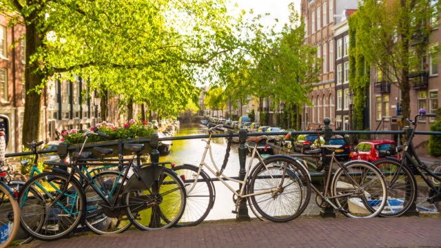 idyllic bridge over canal with bicycles in amsterdam, netherlands - waterfront stock videos & royalty-free footage