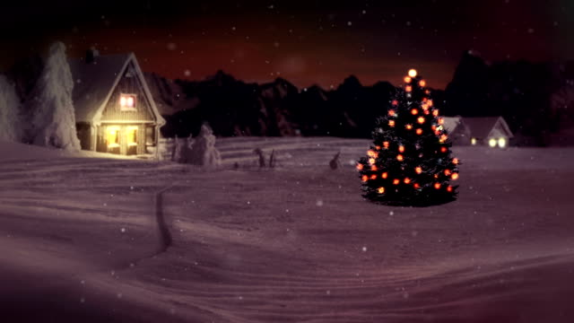 HD: Idyllic Christmas Tree In Winter Wonderland